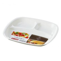 Partition square plate white 880ml
