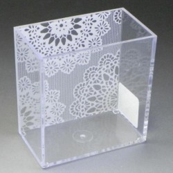 Pen stand white lace pattern clear