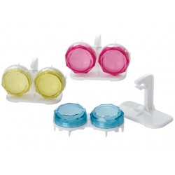 Diamond cut contact case with drying stand