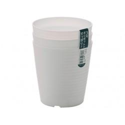 Wave circle pot white 3pcs