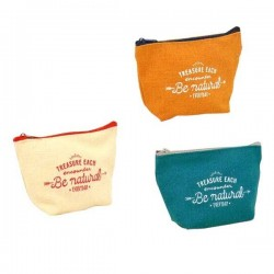 Nature color wedge shaped pouch 10 x 15 x 5.5 cm