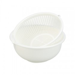 Plastic Beans Bowl & Strainer Set 650ml- White