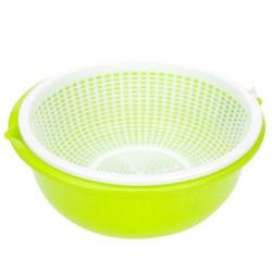 Plastic Beans Bowl & Strainer Set 650ml- Neon Green