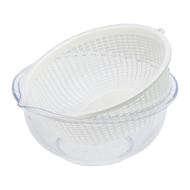 Plastic Beans Bowl & Strainer Set 650ml- Clear