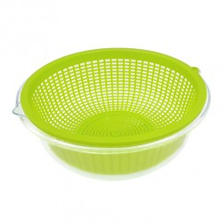 Plastic Beans Bowl & Strainer Set Clear / Neon Green