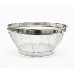 Stainless colander with guard