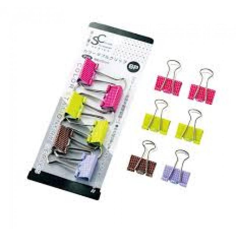 Color stationery color double clip 6pcs