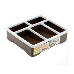 Plastic Tray 5 Compartments brown