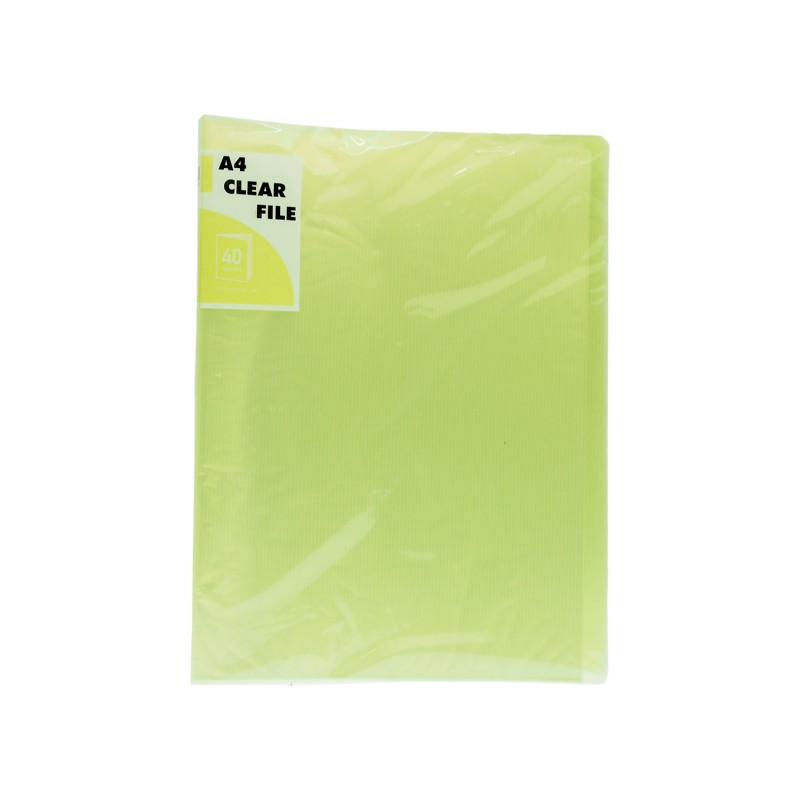 A4 Clear File 40 Pockets Transparent Green