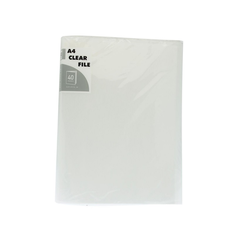 A4 Clear File 40 Pockets Transparent White