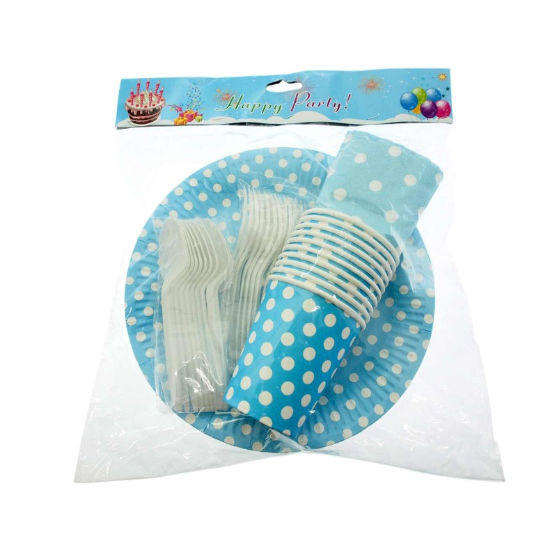 Birthday Tableware Set Polkadots Blue