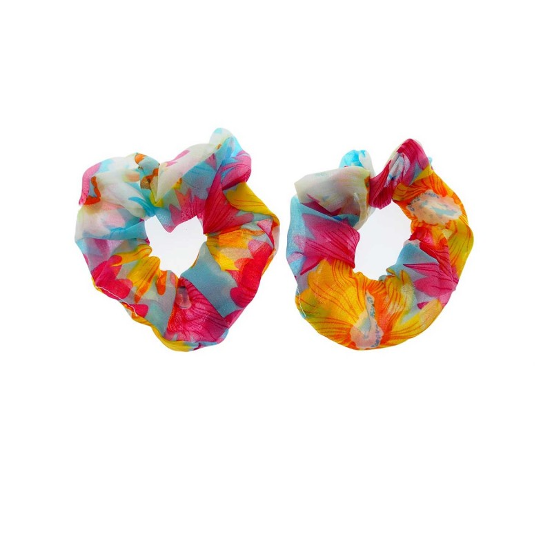 Hair Scrunchie Organza Pink Pattern 2pcs