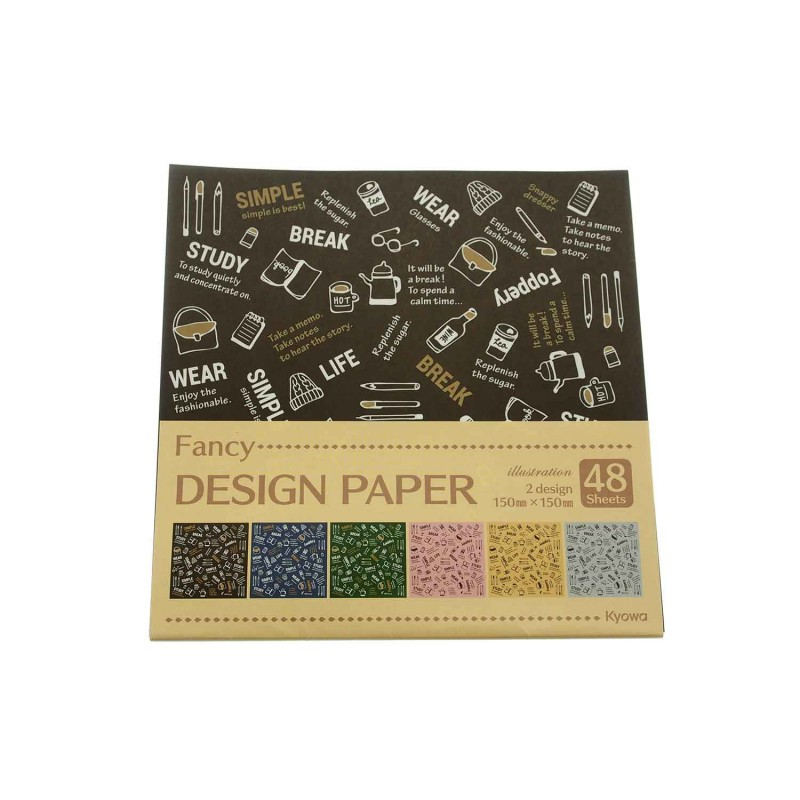 Kraft Design Paper Fancy Illustration 48sheets 150x150mm